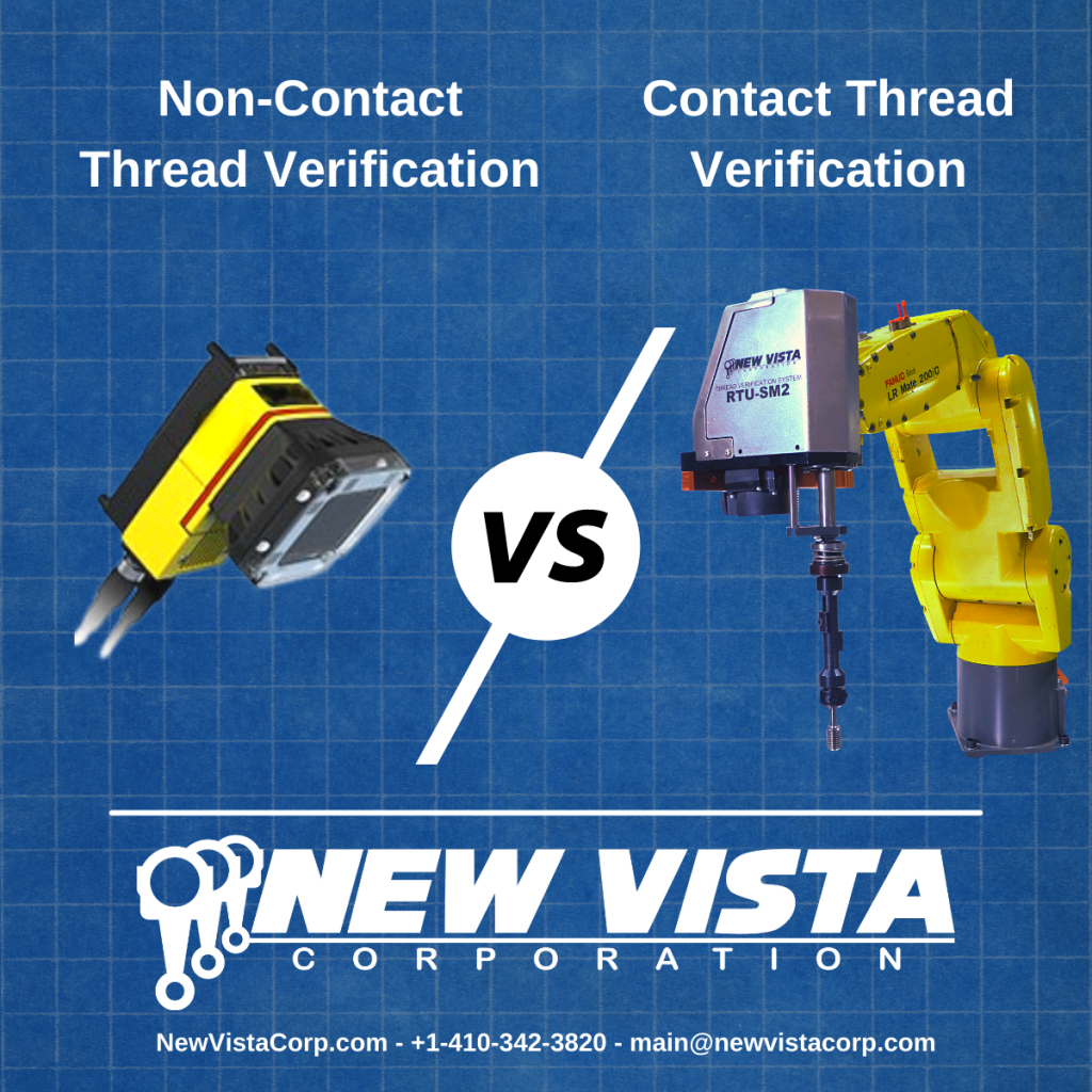 Graphic illustrating contact vs non-contact thread verification. Featuring a camera system and a New Vista RTU Thread Unit.